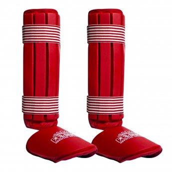 Espinilleras y tobilleras rojas verticales